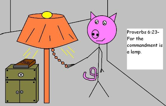 christian clipart pig cartoon proverbs 6:23 for the commandment is a lamp