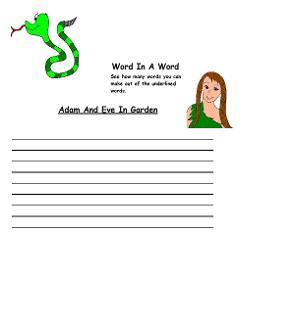 Adam and Eve Word In A Word Satan and Eve Word In A Word Activity Sheet for Kids Worksheets for Preschool kids to go with Adam and Eve Sunday school lesson by Church House Collection