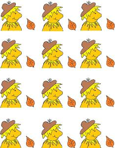 Fall Scarecrow Stickers or Fall Scarecrow Cupcake Toppers