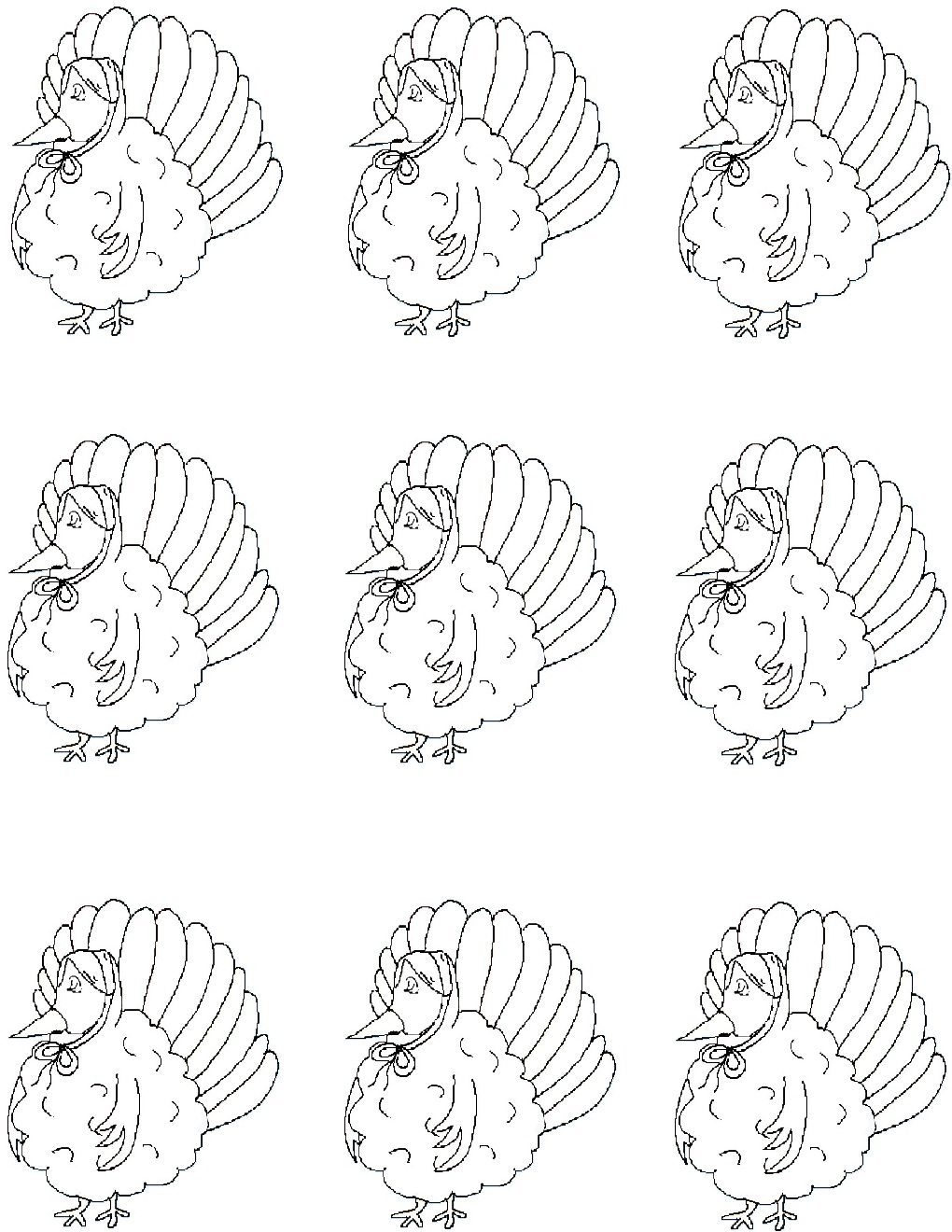 Thanksgiving templates turkey with bonnet 6 pronofoot35fo Choice Image